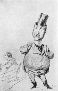 Caricatura de Carlo Collodi, hecha por Tricca